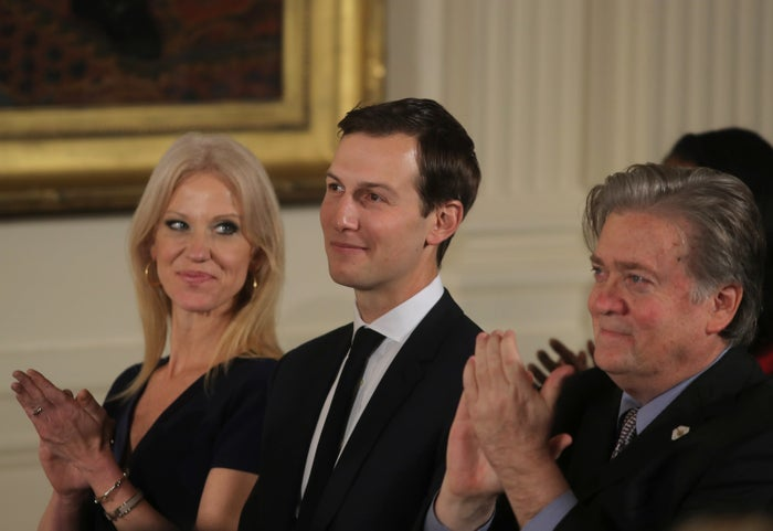 Senior White House advisers Kellyanne Conway, Jared Kushner, and Steve Bannon.