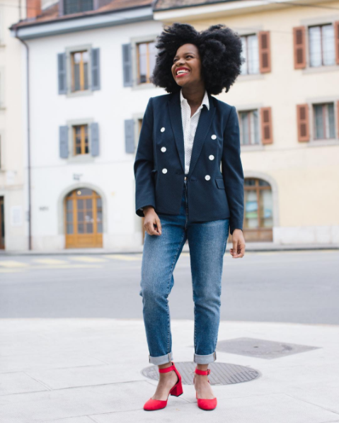 Find a similar jacket for $23 (available in sizes S-XL) at Forever21 and shoes for $28+ (available in sizes 5-10.5) on Amazon. Also, find a slew of great buttons on Amazon for $10. Get more outfit inspiration from @freddieharrel.