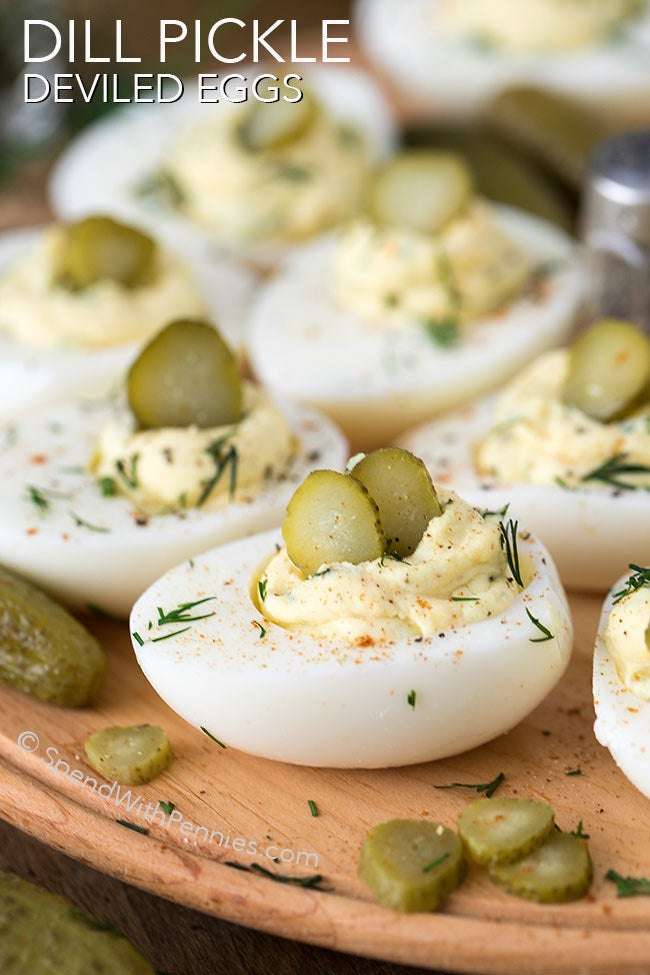 Deviled eggs all dressed up with tangy dill pickles, fresh dill and a splash of pickle juice.