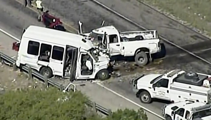 Authorities respond to the deadly crash in northern Uvalde County, Texas Wednesday.
