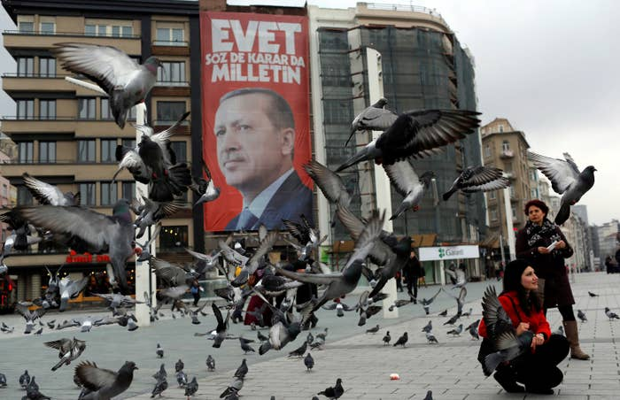 Erdogan is featured in a campaign banner for the upcoming referendum.