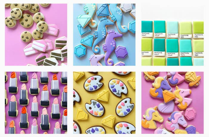 Holly Fox is a baker and an graphic designer, which is clear when your see her page. She makes colourful cookies that look also too good to eat.