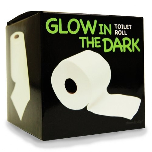 Some glow-in-the-dark toilet paper because when you gotta go in the middle of the night, you'll need a little light.