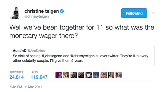 Chrissy Teigen continued to win the internet.