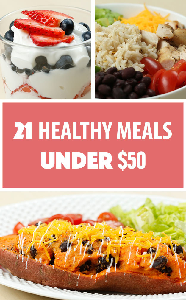 There's a common misconception that eating healthy is expensive. After coming up with a grocery list and doing some savvy shopping, we came up with 21 healthy meals for under $50. That's three single-serving meals a day for seven days to keep your wallet AND your belly happy!