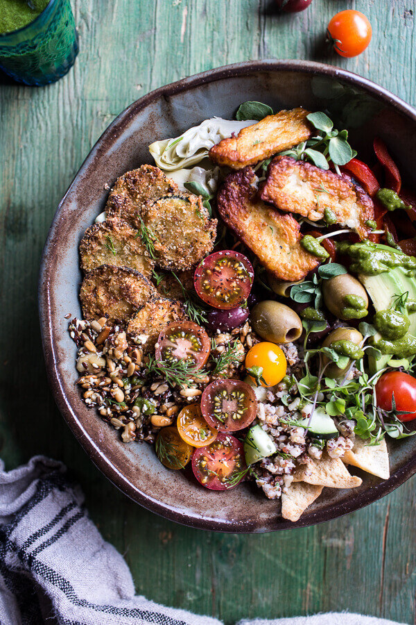 """Greek Goddess Grain Bowl With """"Fried"""" Zucchini, Toasted Seeds and Fried Halloumi"""