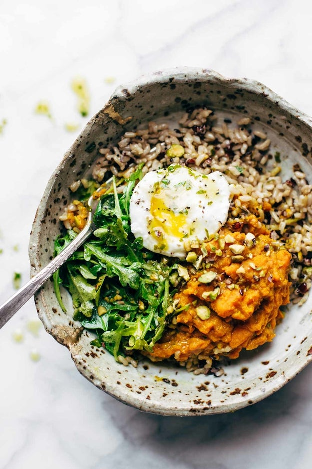 Healing Bowls With Turmeric Sweet Potatoes and Poached Eggs