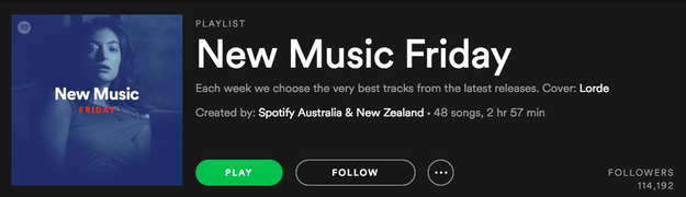 I also love new music. New Music Friday, a playlist created by Spotify of random new music, has become almost a religious event for me. I literally wake up on Fridays excited to see what's on it.