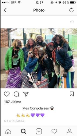 Sur ces photos Instagram diffusées sur Twitter, on remarque que les légendes comportent des messages racistes, associant les personnes de peau noire aux bananes.