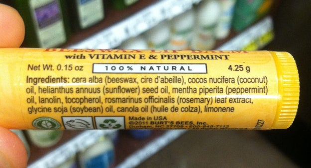 When you're looking for lip balm, try to get one with a short ingredients list.