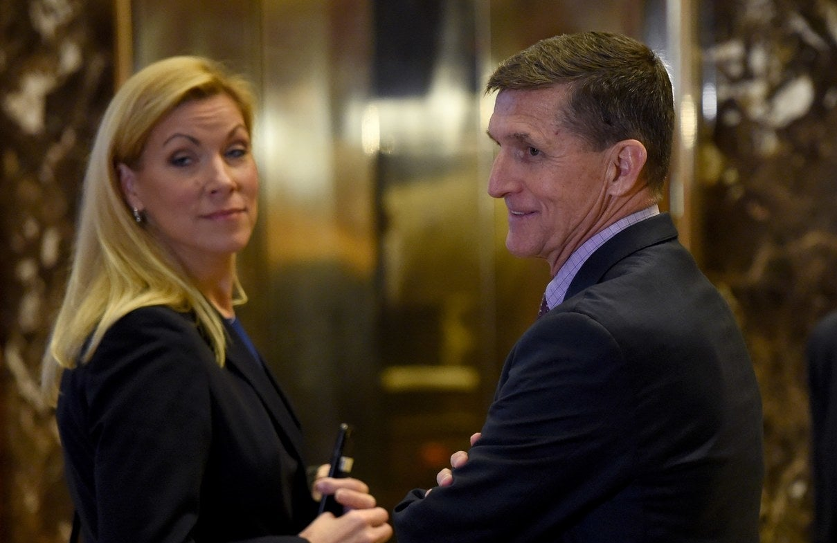 Former Gen. Michael Flynn and Irving Mayor Beth Van Duyne at Trump Tower in 2016.