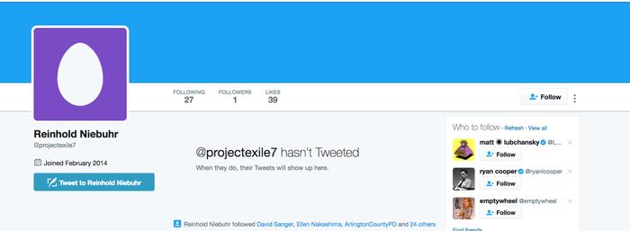 FBI Director Comey's alleged Twitter account.