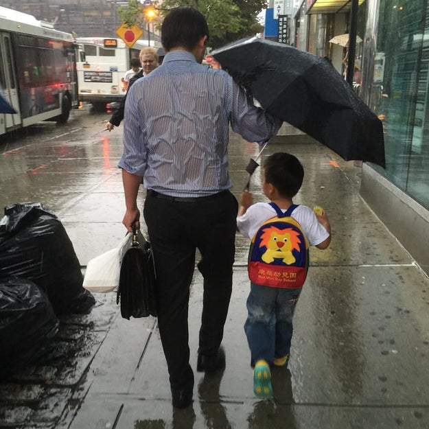 This dad looking after his son.