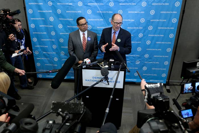 Tom Perez and Keith Ellison speak to reporters last month after Perez became DNC chair.