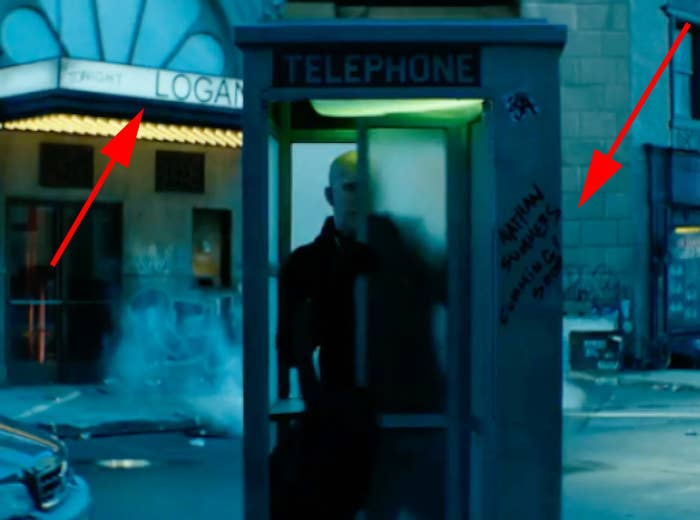 """Please note the Logan marquee in the background, and the name """"Nathan Summers"""" written on the telephone booth. Summers is also known as Cable — the mutant soldier who will be teaming up with Deadpool in the sequel."""