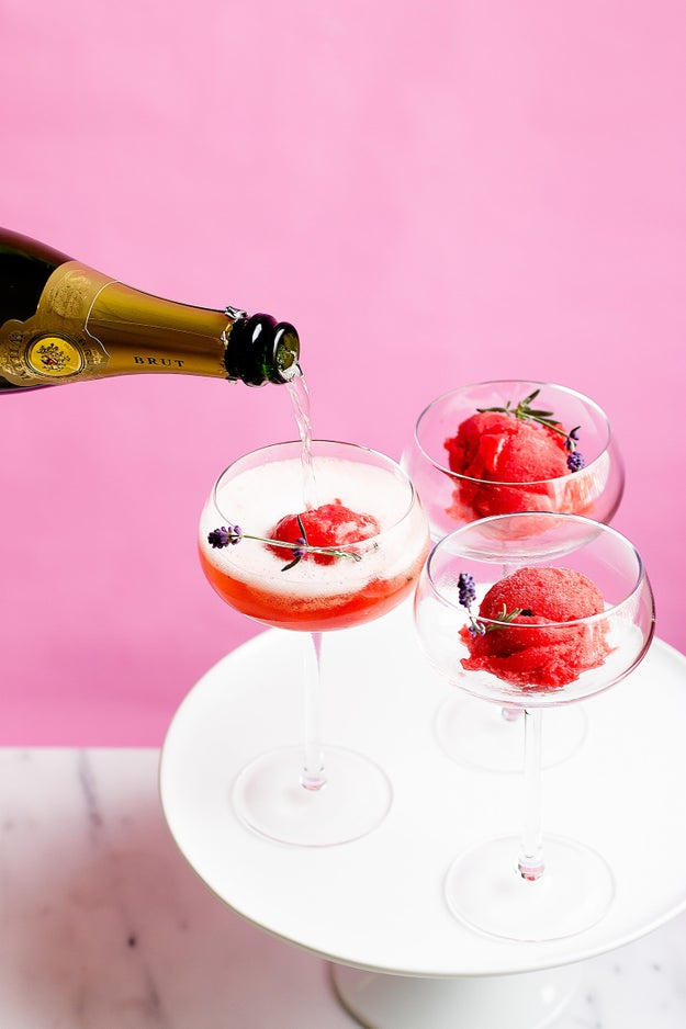 Strawberry Lavender Champagne Floats
