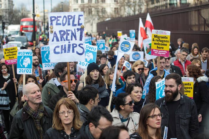 Protesters take part in a march in support of migrants and EU workers in central London last month.