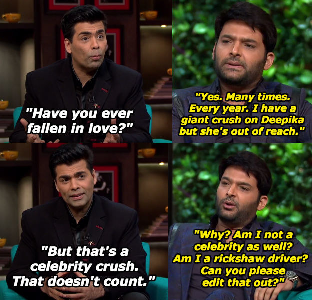 When he really really wanted Karan to take his crush on Deepika Padukone seriously.