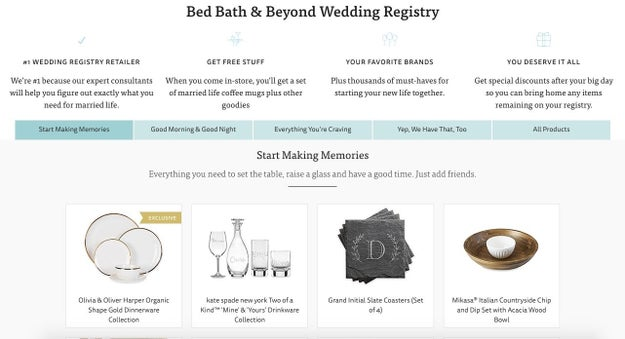 The Knot, for linking your (free) wedding website and registry in a snap.