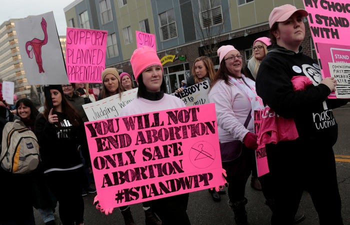 Pro-Choice supporters of Planned Parenthood rally outside a Planned Parenthood clinic in Detroit, Michigan.