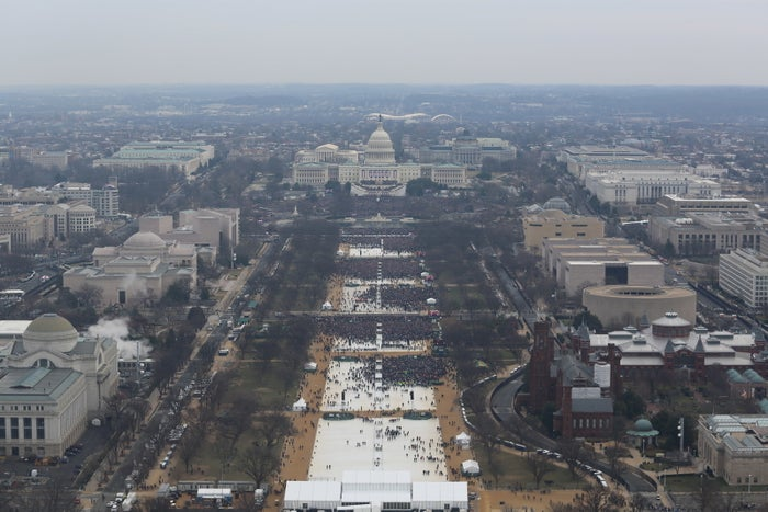 An aerial view of Donald Trump's inauguration on Jan. 20 in Washington, DC.