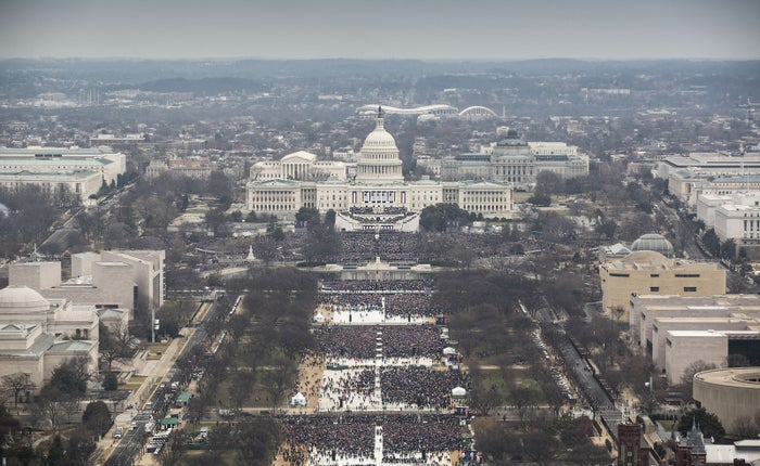 An aerial view of Trump's inauguration on Jan. 20.