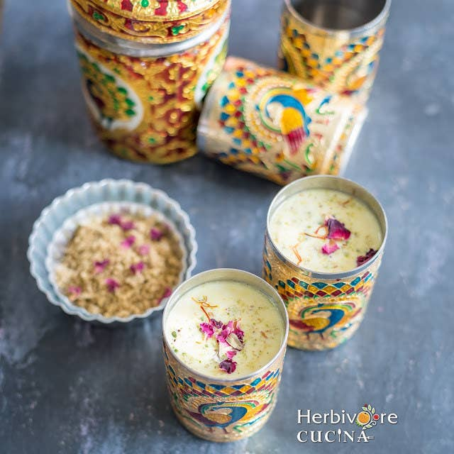A Favorite Chilled Drink for Holi, filled with flavors of nuts, seeds and Indian spices.Get the Recipe: Herbivore Cucina