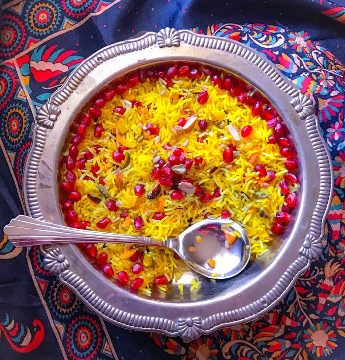 Traditional Indian rice dish that's absolutely aromatic and infused with saffron, dry fruits, ghee, sugar, and rose-water. Every bite satisfies your soul. (GlutenFree)Get Recipe: Easy Cooking with Molly