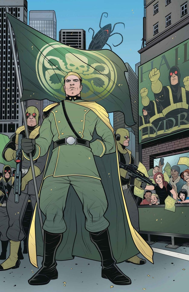 While some may argue that Hydra has evolved since its initial creation as fugitive fascist group, one of the covers for Secret Empires #2 relies heavily of Nazi imagery.