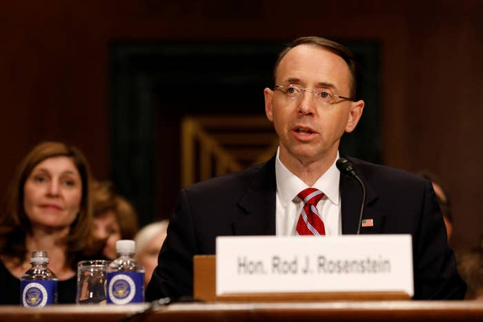 Rod Rosenstein testifies before the Senate Judiciary Committee on March 7.