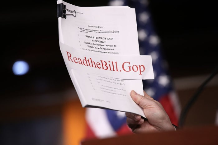 A copy of the Republican plan to replace the Affordable Care Act is shown during a news conference at the US Capitol.
