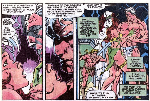 You also never see Rogue's tortured romance with Magneto.