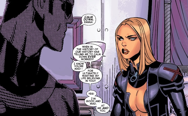 You never see the tortured romance of Cyclops and Emma Frost after Jean Grey dies.