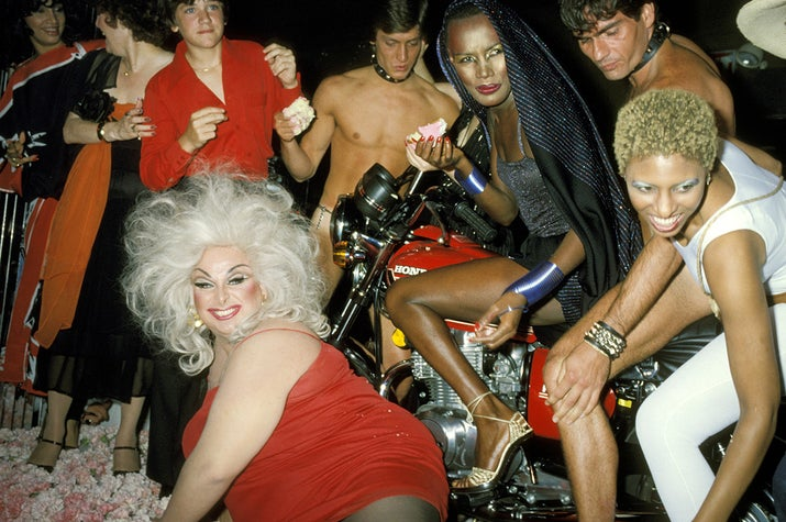 Divine, Grace Jones, and friends celebrate Jones' birthday at Xenon, 1978.