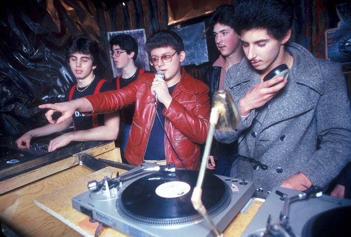 A group of DJs spin records at a disco club in New York City, 1979.