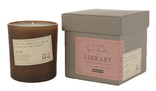 A Library Collection soy candle that sets the mood by paying tribute to scholars.