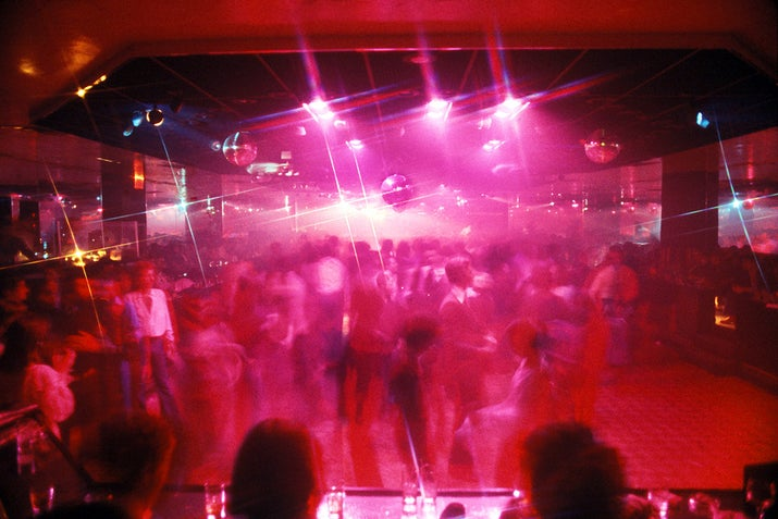 A crowd of dancers at the disco club in New York City, 1978.