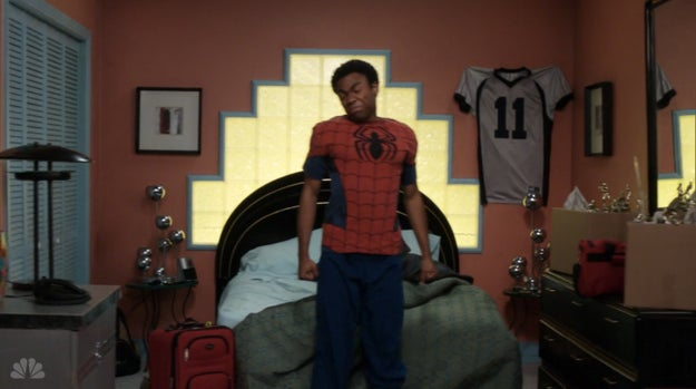 Troy rocking these pajamas as a nod to the Twitter campaign to get Donald Glover cast as Spider-Man.