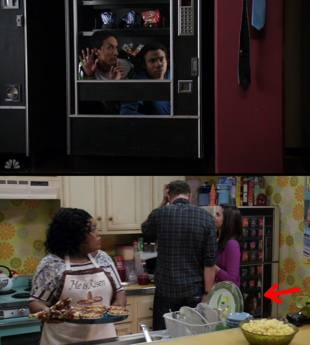 There's a reference to Troy and Abed getting stuck in a vending machine on their fridge two seasons later.