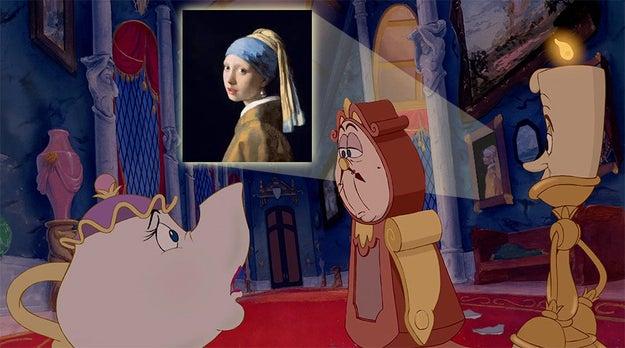 Bestia tenía una buena colección de arte en su castillo: ¡el cuadro que aparece tras Din Don es La joven de la perla, de Vermeer!