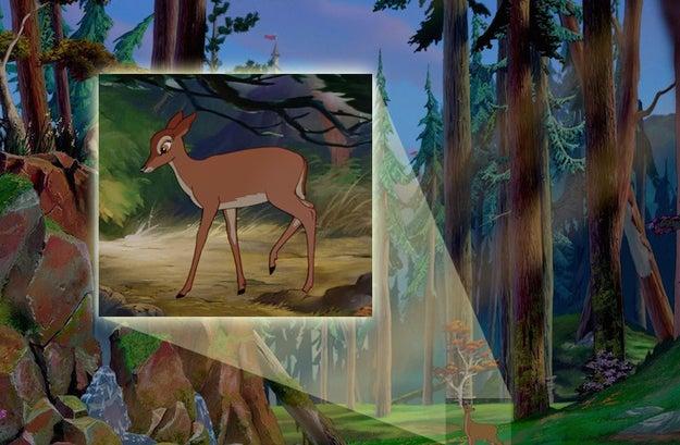Al comienzo de la película, se puede ver a la madre de Bambi (RIP) deambulando por el bosque cercano al castillo de Bestia.