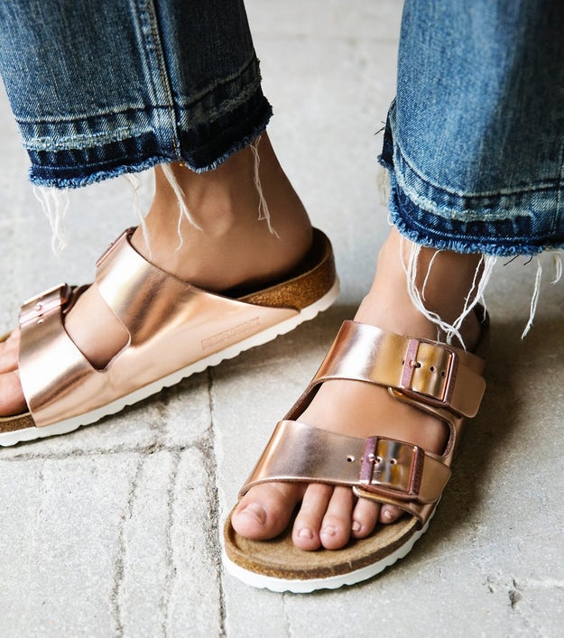 Eye-catching metallic Birkenstocks that don't leave your footsies squealing in pain after running a few errands.