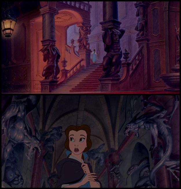 También en el castillo de Bestia: ¡otras bestias! Las terroríficas estatuas y gárgolas son primeras versiones desechadas del personaje.