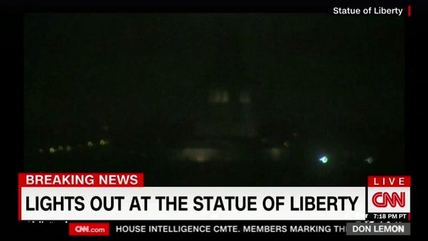 CNN also aired video that Lady Liberty had gone dark. The National Park Service, which manages the national monument, did not immediately respond to a request for comment.