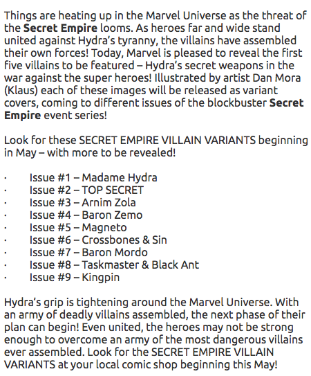Last week, it was announced that there would be a series of variant covers for Marvel's upcoming Secret Empire comic event.