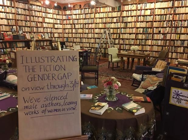 On Mar. 1, the bookstore turned around all books authored by men to illustrate how much more prominent men are in the written world than women, just in time for Women's History Month.