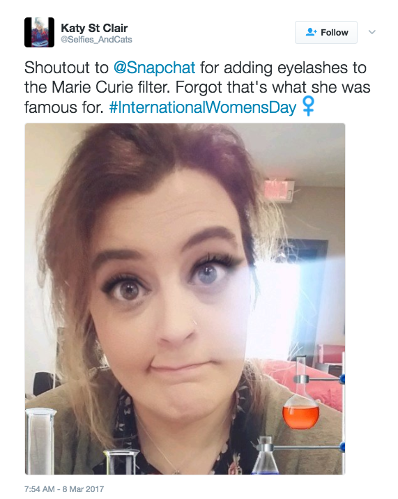 But some users have pointed out an odd detail in the Marie Curie filter: a smokey eye, false eyelashes, and complexion-smoothing makeup.