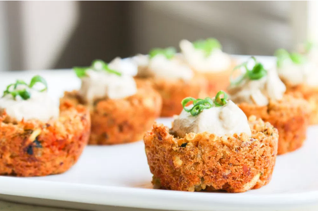 These mini chickpea cakes bake perfectly in muffin tins. Get the recipe here.