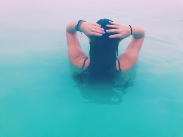Your hair will feel SUPER stiff and damaged if you decide to get it wet in the lagoon — but there are ways of preventing this.