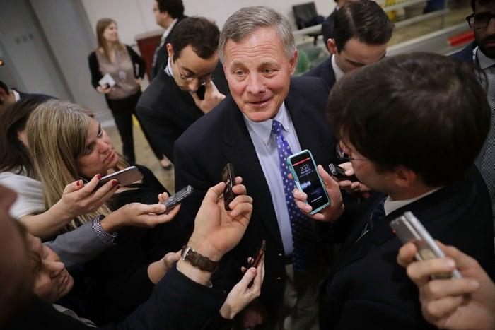 Senate Intelligence Committee Chairman Richard Burr talks to reporters in January.